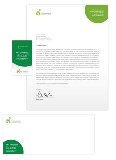 Environmental protection business card letterhead for Environmental protection plan template