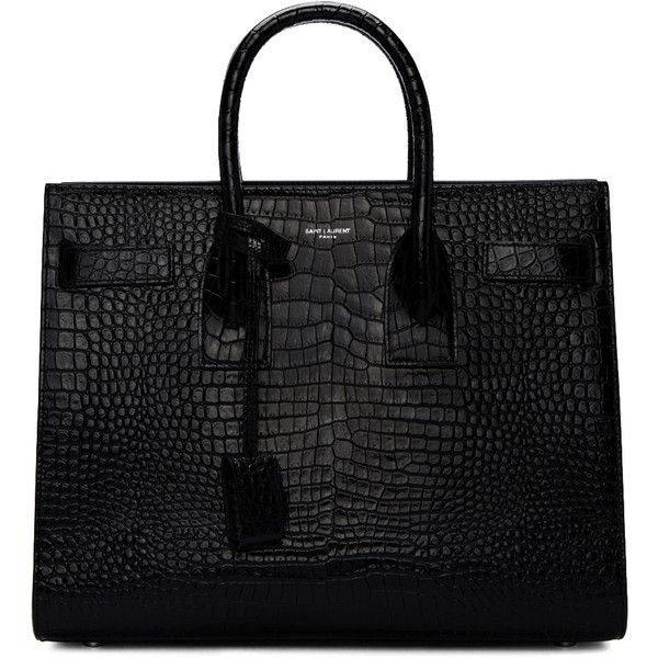 Saint Laurent Black Croc-Embossed Small Sac de Jour Tote found on Polyvore featuring bags, handbags, tote bags, borse, black, studded tote, studded tote bag, structured leather tote, leather tote bags and handbags totes