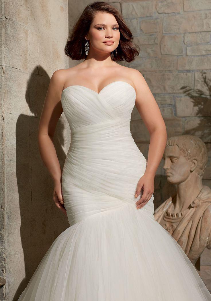 Fabulous Elegant Tulle Sweetheart Neckline Natural Waistline Mermaid Plus Size Wedding Dress With Detachable Jacket Julietta by Mori Lee Bridal Gown
