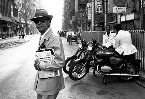 """Naguib Mahfouz, Egyptian contemporary novelist and Nobel Prize Laureate (Literature), author of """"The Cairo Trilogy"""", """"Midaq Alley"""" and many other recent classics."""