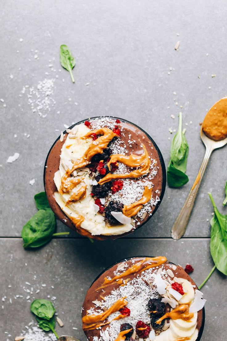 Creamy and nutritious açaí bowls with banana, peanut butter, coconut milk, and spinach will keep you happy and fueled all morning long.
