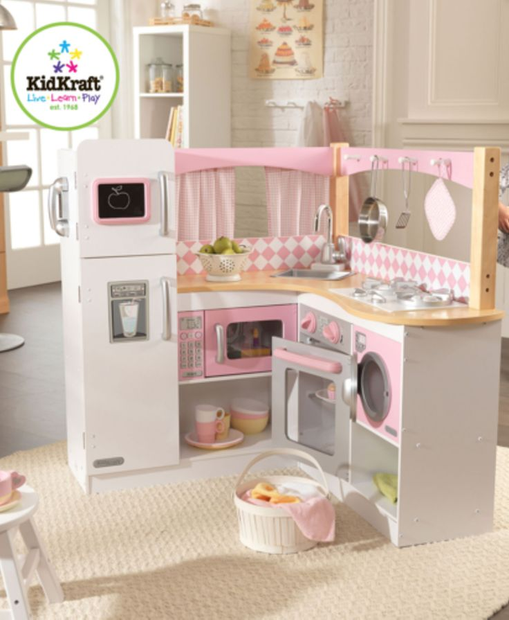 Playing with our Grand Gourmet Kitchen will make any kid feel like a world-class chef! The cute pink and white color scheme adds to the fun.