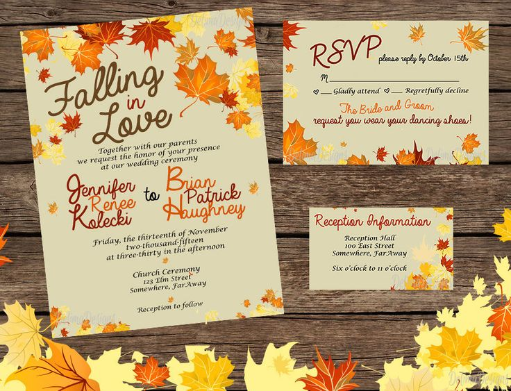 Falling In Love   Fall Wedding Invitation Set/Digital Invitation