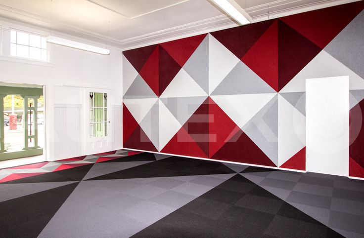 Autex Acoustics - Symphony® Acoustic Wallcovering - Whakawerawera School, NZ - Custom Cut Design - Colour: Blazing Red, Chilli Red, Silver & Civic