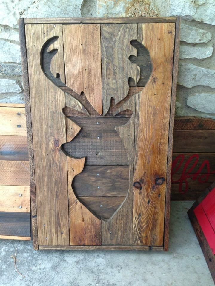 Pallet Wood Deer Silhouette Wall Hanging - Rustic Country Recycled Stained Hunting Trophy Sign Gift for Him