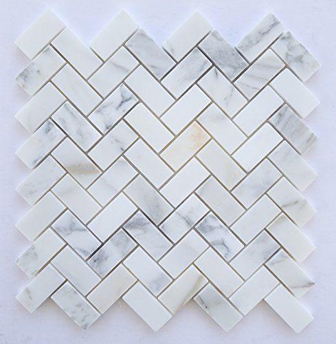 Calacatta Gold Italian Calcutta Marble Honed Herringbone 1 X 2 Mosaic Tile…