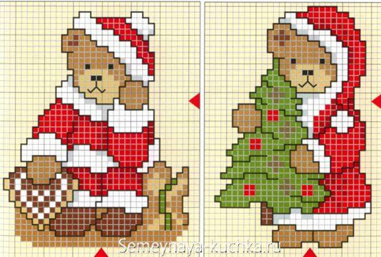 схема новогодних медвежат