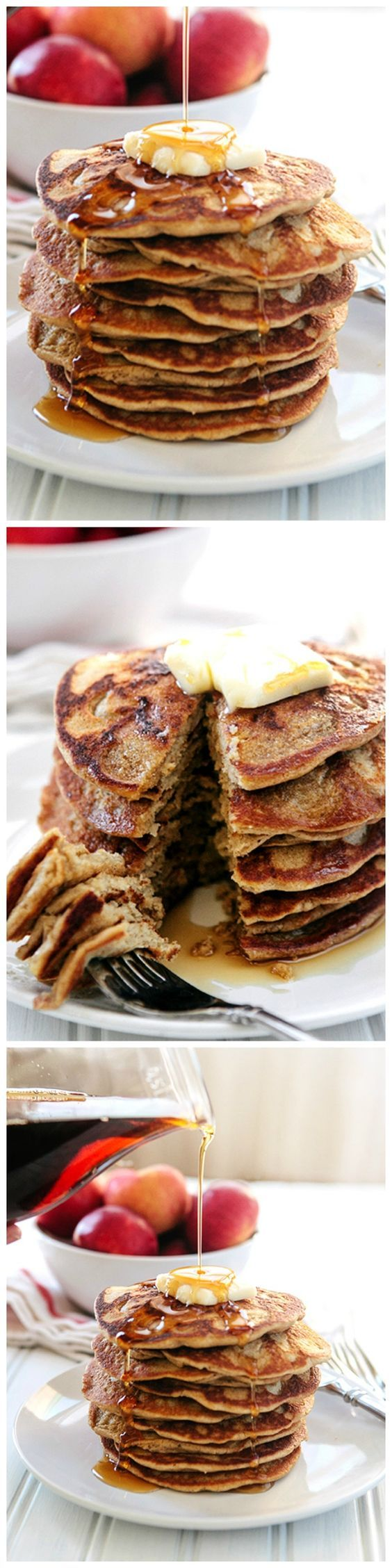 Oatmeal Apple Blender Pancakes (Gluten Free and Dairy Free) - skip the flour and use Steel Cut Oats instead. These delicious simple pancakes whip up in the blender in no time!