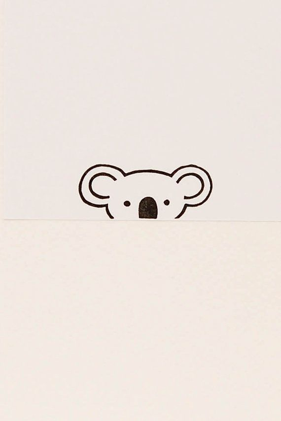 A friendly Koala peek-a-boo stamp - Non-mounted hand carved simple rubber stamp - funny animal stamp