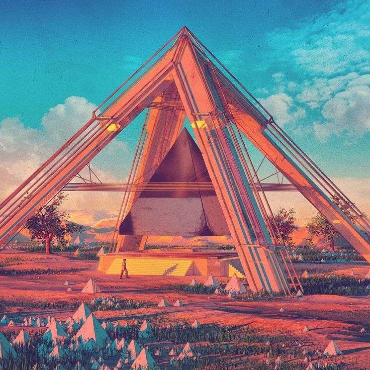 MORNING TRIANGLE WORSHIP #everyday #c4d #cinema4d #3d #scifi by beeple_crap