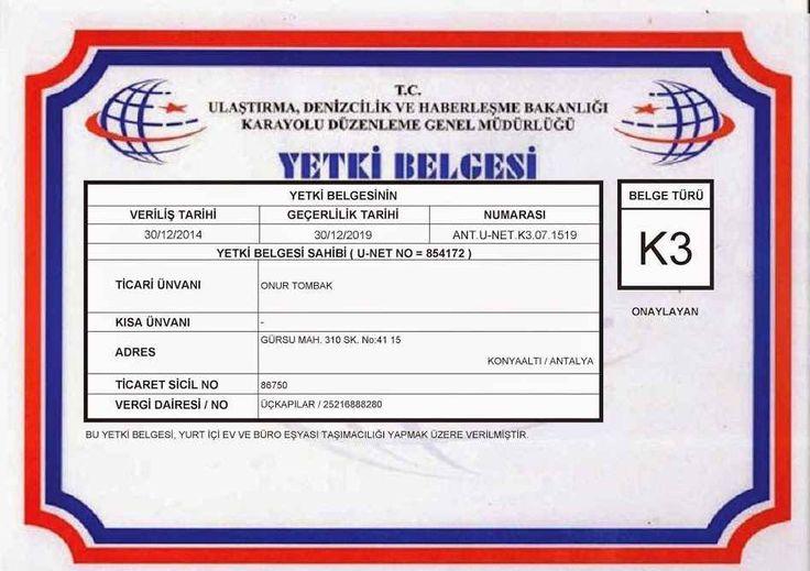 Antalya Nakliyat K3 Yetki Belgesi