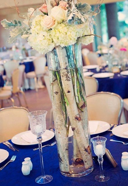Tall Vases Of Submerged Birchwood And Flowers Brought Beautiful Nature Indoors At This Mandy Dewey