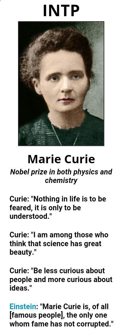 Famous INTP, Marie Curie