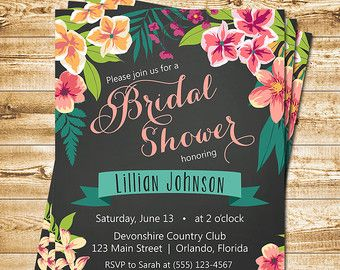 Tropical Bridal Shower Invitation Island by WillowLaneStationery