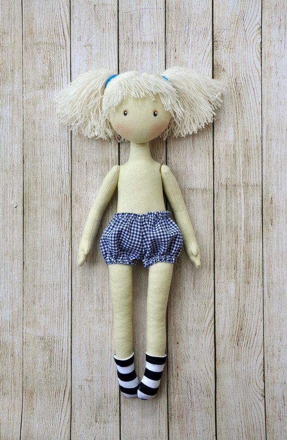 Textile doll, decorative doll , doll cotton, rag doll, Height of doll 38 cm (15 inches) The doll is sewn of natural materials (cotton cloth). It is