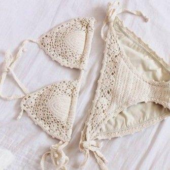 bag crochet swimwear bikini halter string white suit suit crochet