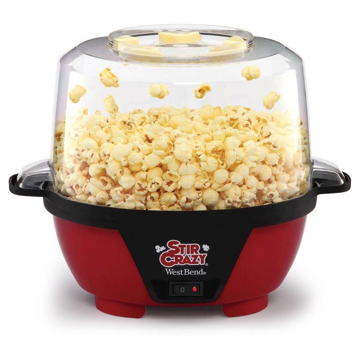 West Bend Stir Crazy Popcorn Maker Machine, Black