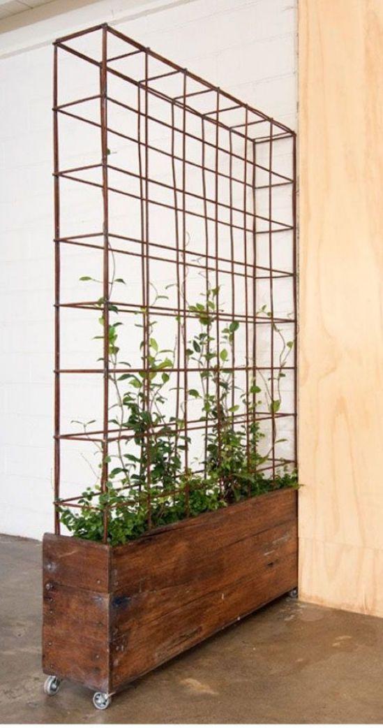 Modern rectangular planter with metal trellis #outdoorwood ...
