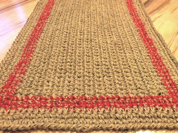 Simple Jute Rug custom color border Crochet  by MagicByCrochet