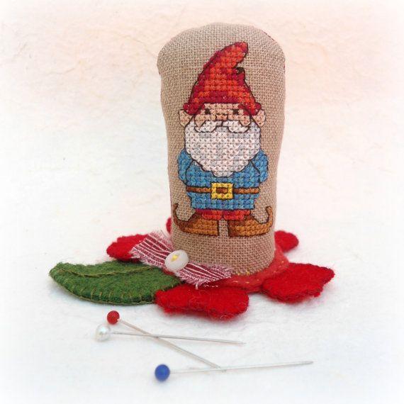 Cross Stitch Garden Gnome Soft Sculpture от SnowBerryNeedleArts