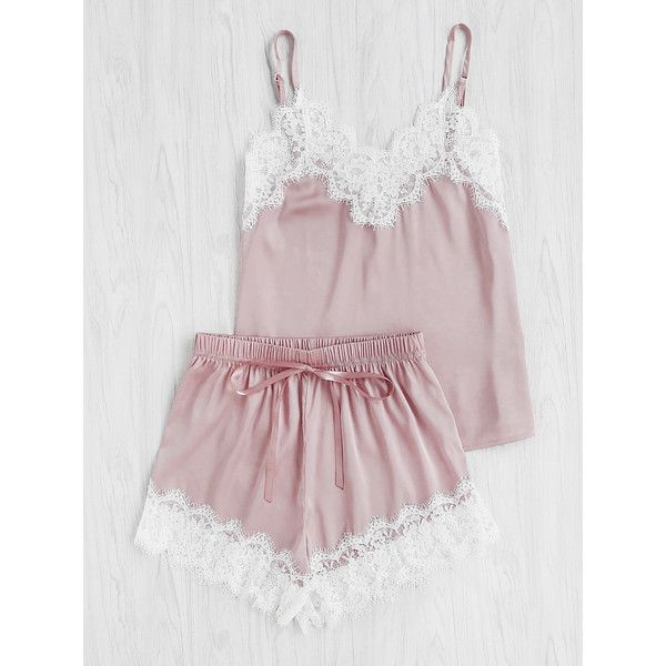 Lace Trim Satin Cami And Shorts Pajama Set (29 BAM) ❤ liked on Polyvore featuring intimates, sleepwear, pajamas, satin pjs, satin pajamas, satin pyjamas, camisole sleepwear and satin cami