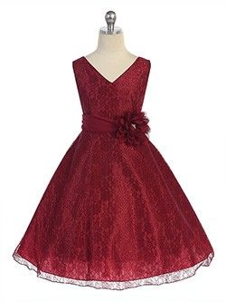 Burgundy Surplice Top All Lace Flower Girl dresses with Flower Corsage on Waist (sizes 2-20)