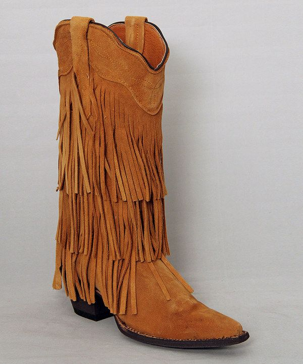 Loving this Tanner Mark Boots Honey Suede Fringe Cowboy Boots - Women on #zulily! #zulilyfinds