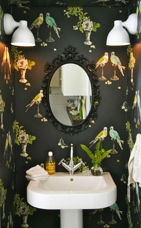 Home Chic Raleigh - half bath wallpaper, geometric wall paper, wall paper, wallpaper, bird wallpaper, ikea mirror, black intricate mirror