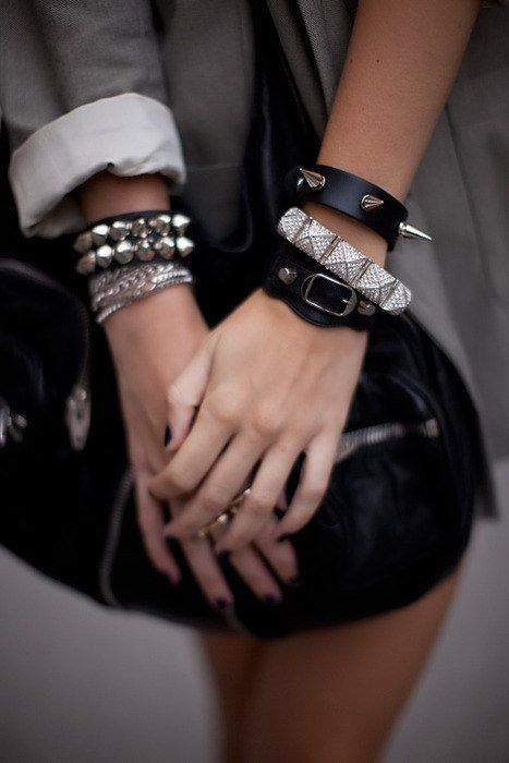 studs and spikes: Studs, Arm Candy, Spikes, Style, Bracelets, Fashion Accessories, Cuffs, Rocks Chic, Arm Parties