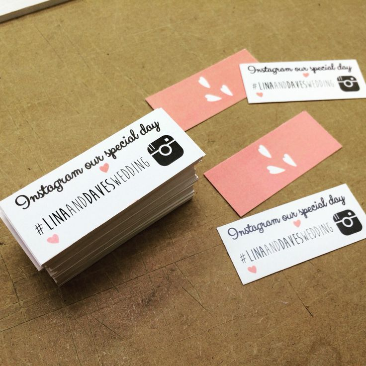 My latest invention: Wedding Hashtag mini cards! ...So everyone can share their moments of your big day! Weddings Wedding Craft Wedding Stationary Wedding Pics