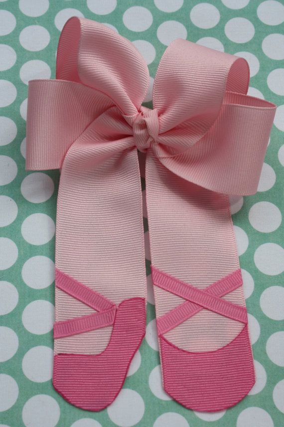 Sweet Ballerina Ballet Bow in Pink Grosgrain Ribbon on Etsy, $8.00