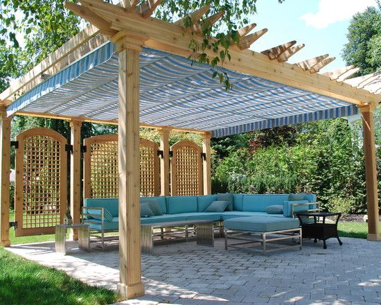 Build Patio Canopy to Makes Extraordinary Backyard: Wonderful Idea To Build Patio Canopy With Blue Bench And Black Coffee Table On Brick Floors ~ rensketaminiau.com Outdoor Designs Inspiration