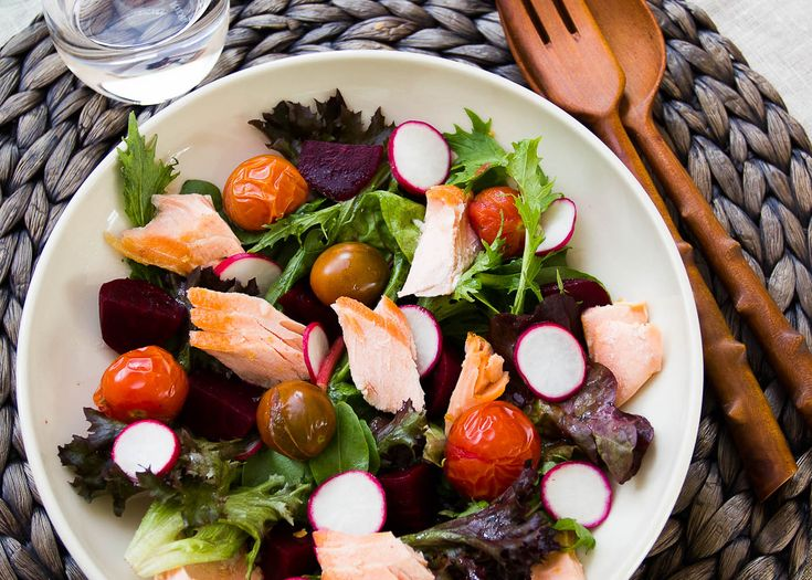 salmon, radish and roasted tomato salad   by far, this is one of the easiest and most delicious salads you can prepare from leftover grilled salmon.