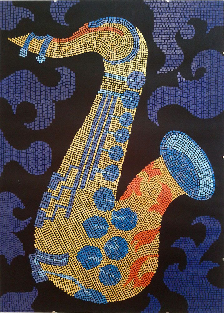 saxophone paper mosaic collage from magazine pages, 50 X 70 cm