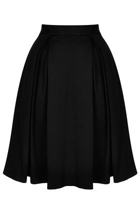 Black knee length pleat skirt. I can just picture this with a white logo tshirt and some flats!
