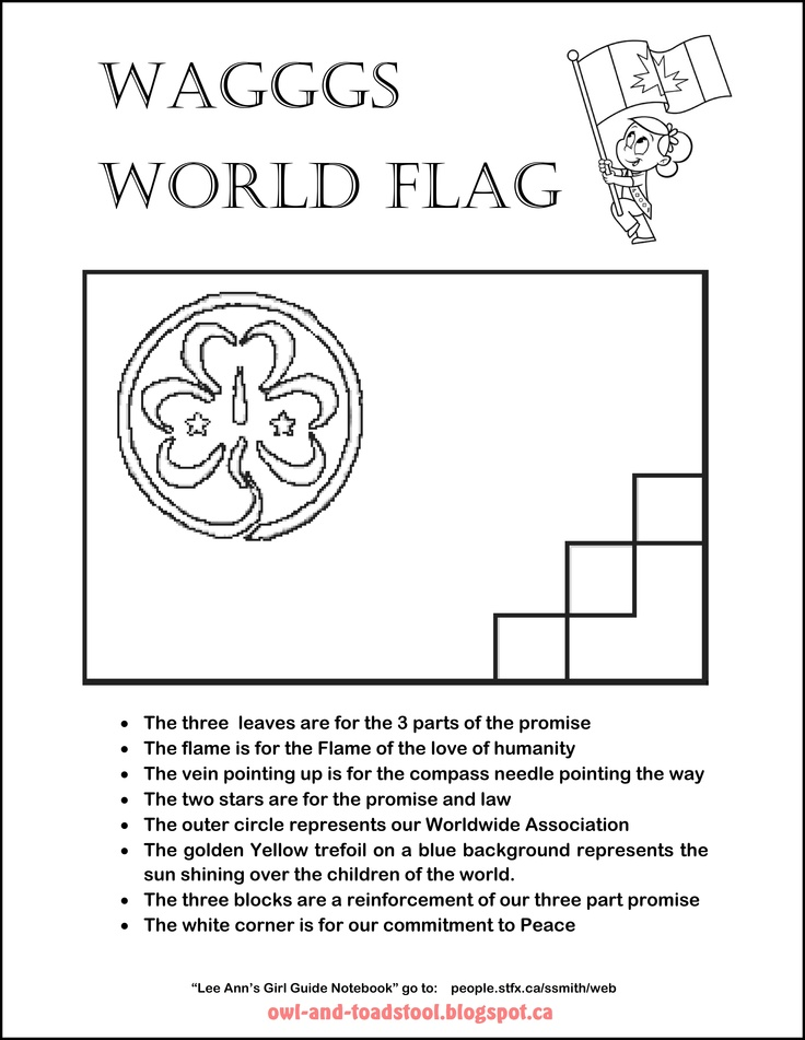 WAGGGS World Flag colouring page.  owl-and-toadstool.blogspot.ca