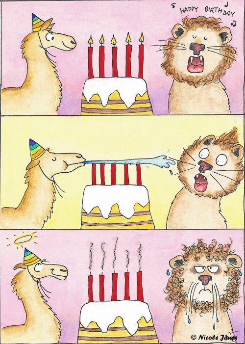Souhaitez un joyeux anniversaire avec cette carte bande dessinée amusante.