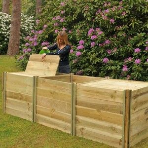 Our Wooden Compost Bins made from high pressure treated Scandinavian softwood, exclusively designed and manufactured by us with 15mm thick planks that slot in and slide out of aluminium post fixings and its all backed up by a 4 year structural guarantee  http://www.harrodhorticultural.com/slot-together-compost-bins-pid8703.html Slot Together Compost Bins - Harrod Horticultural (UK)