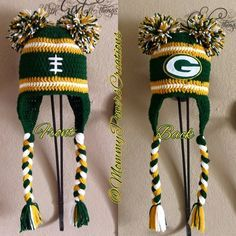 Image of Green Bay Packers Inspired Crochet hat with Pom Pom & Decal Logo