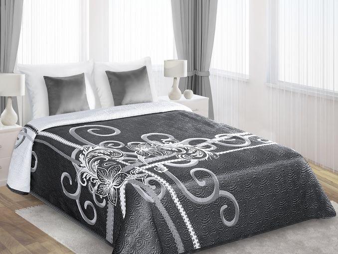 Biało stalowa narzuta dwustronna na łóżko do sypialni