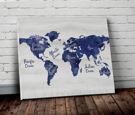 Navy Blue WORLD MAP Canvas Wall ART with Continent Names - Watercolor World Map Canvas Print