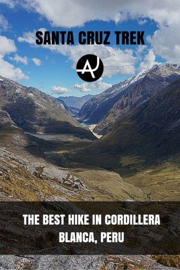 One of the best hiking routes in the world. The Santa Cruz Trek in the Cordillera Blanca, situated near Huaraz, Peru. A great mountain chain for trekking.