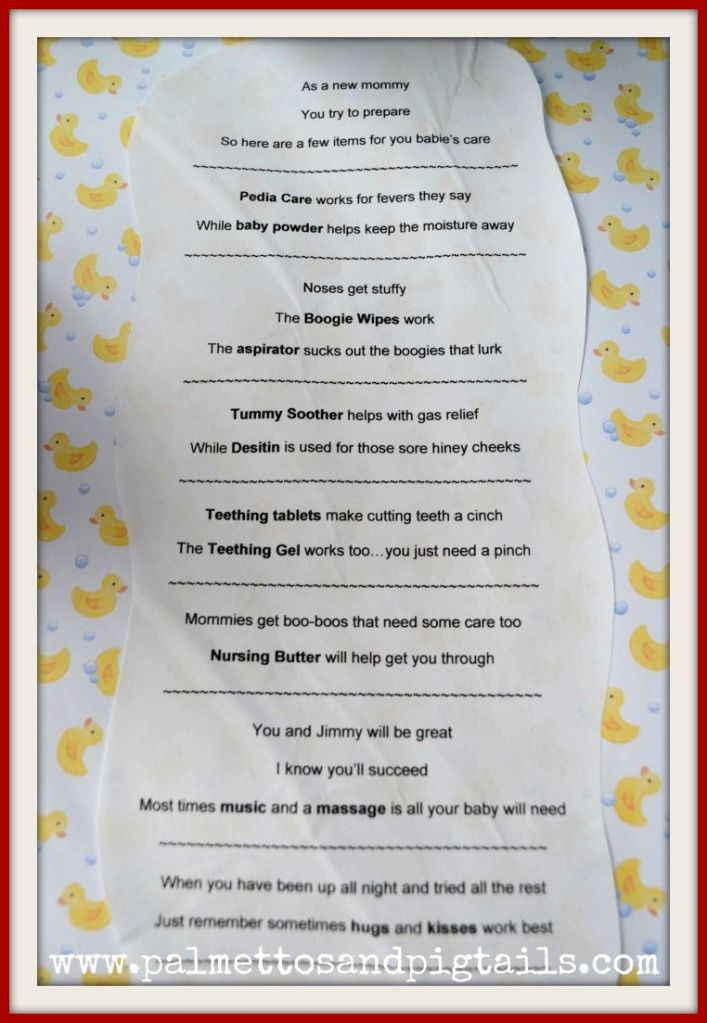 Baby Gift Poem : Adorable idea for a baby shower gift basket of