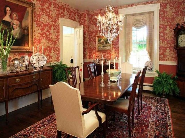 red toile wallpaper for walls | can you tone down the redness but keep the red wallpaper?