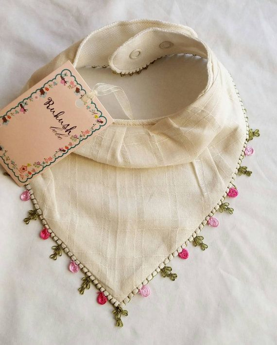 Special handmade bandana bib with needle lace work very cute meets modern and tr…