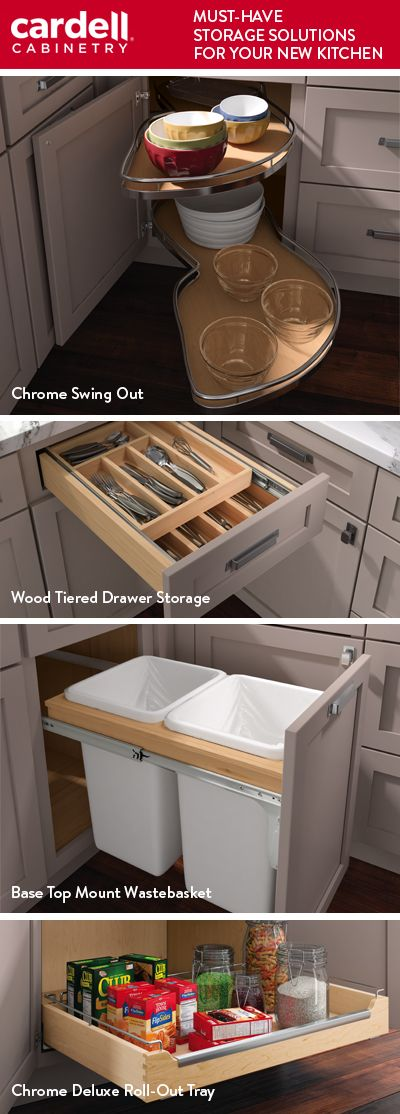 Make the most of your kitchen storage in cabinets with one of these life changing solutions from Cardell® Designer Collection.