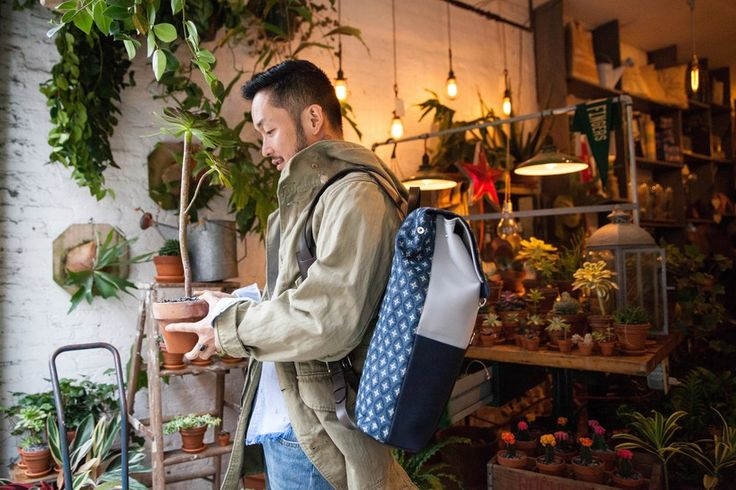 Satie Kawamoto, of Green Fingers, modeling our new Carson Street x Mismo backpack (about a year in the making) in his new shop on Rivington Street.