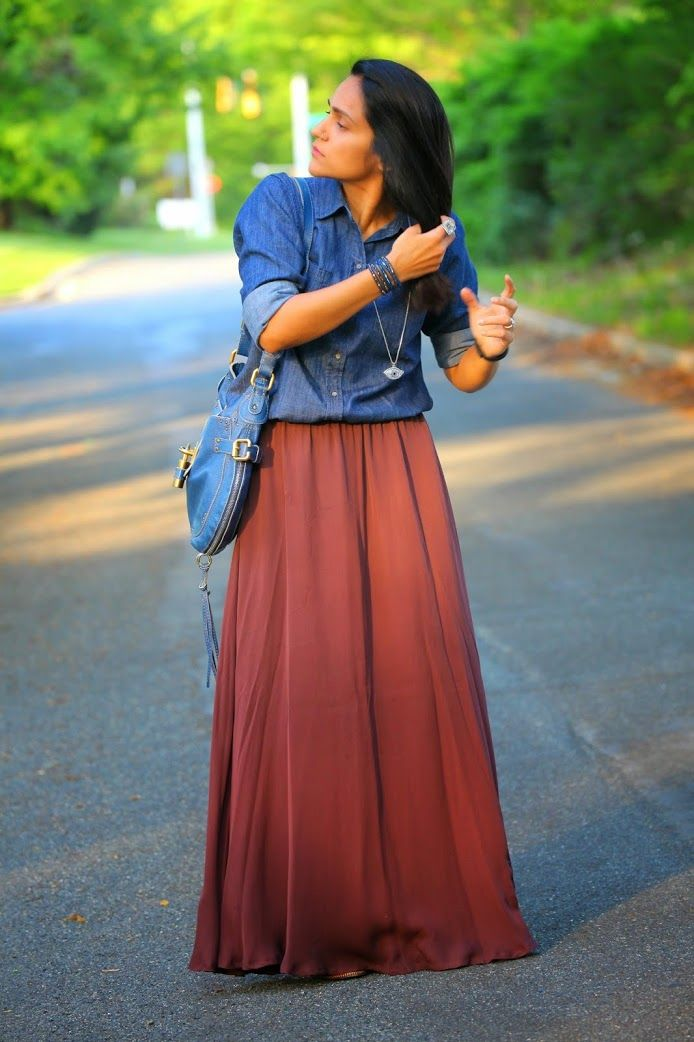 chambray shirt gap maxi skirt stylein footwear from