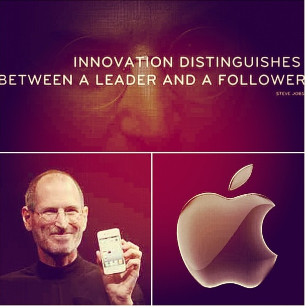 Innovation distinguishes between a leader and a follower - #stevejobs #pruvology #pruv #apple #iphone #macbook #ipad #innovation #inspire #inspiration #motivate #motivation #billionare #richandfamous #ambition #genius