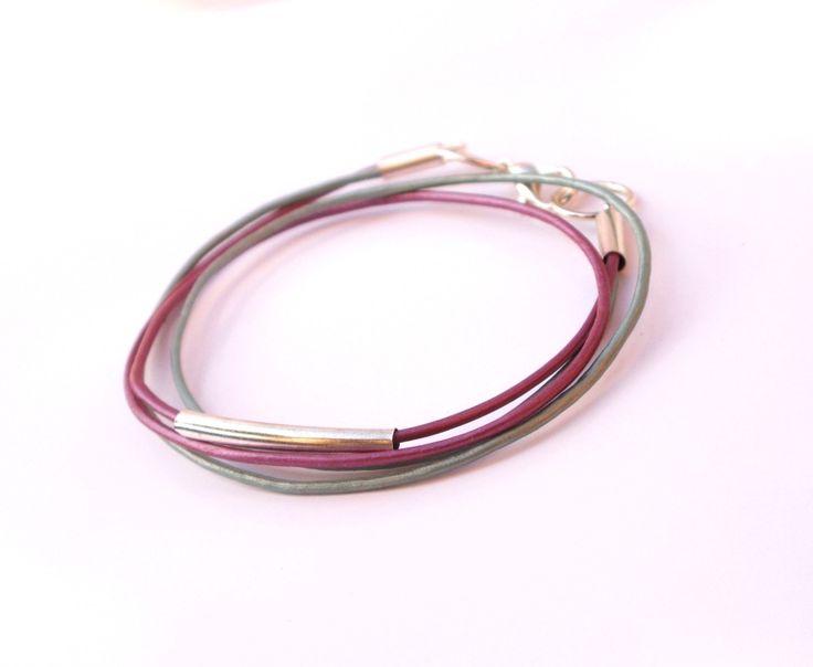 Bracelet fin en cuir et argent : Bracelet par callenana